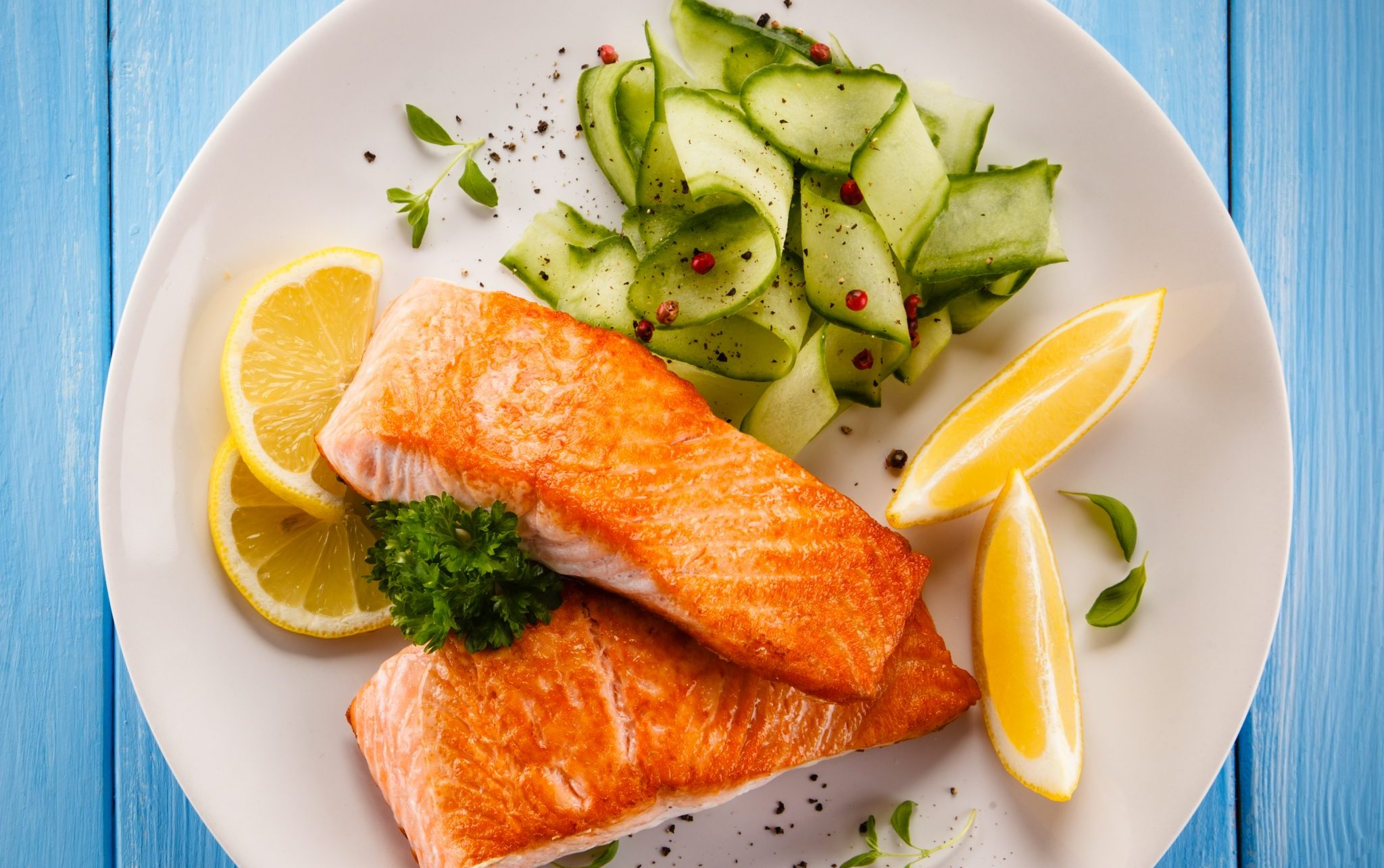 salmon and salad