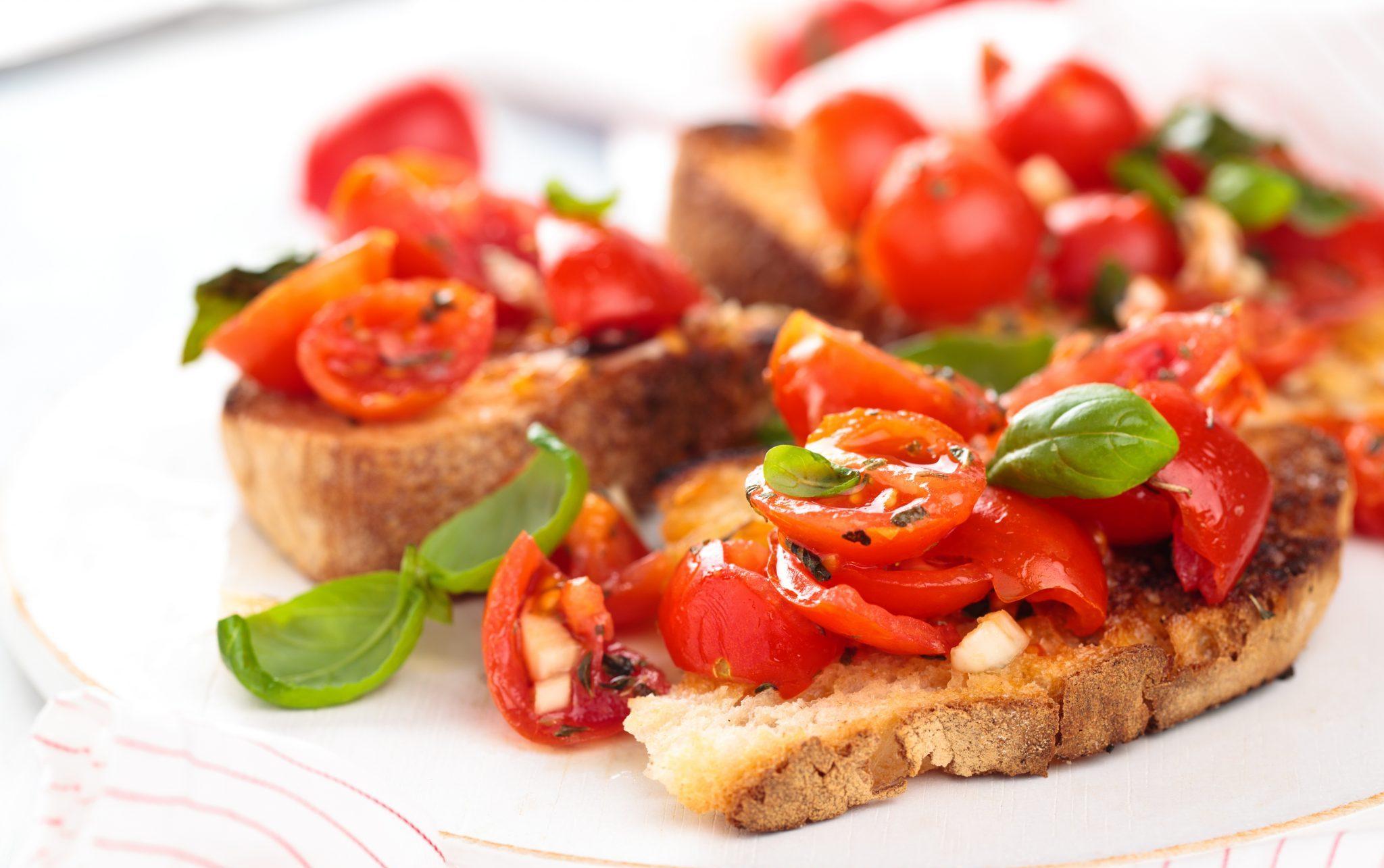 tomato eggplant bruschetta